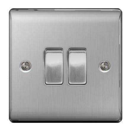 BG Brushed Steel 10ax Plate Switch 2 Way - 2 Gang